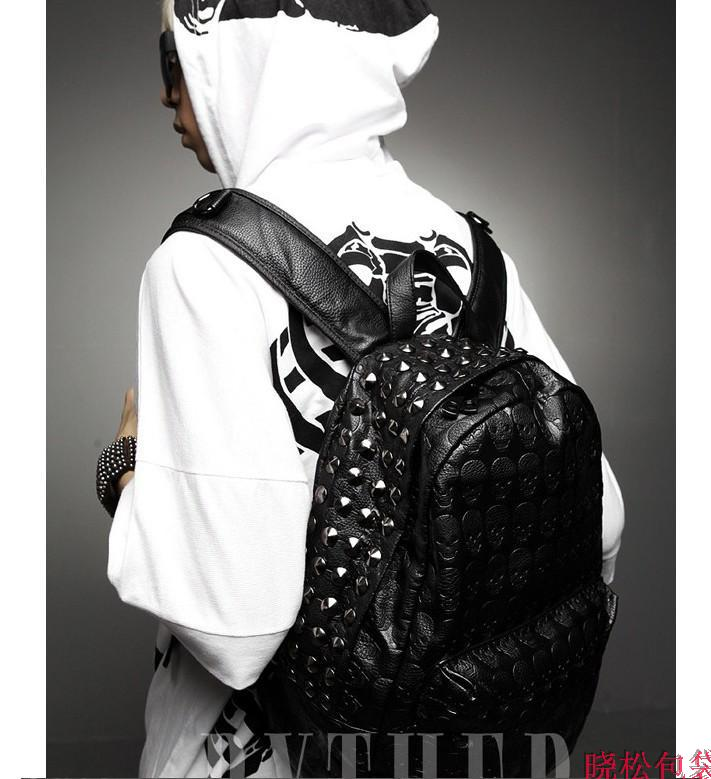 Punk Spike Skull Leather Backpack on Luulla